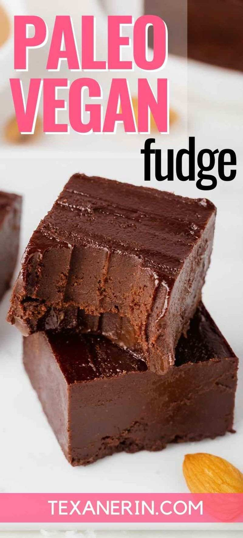 This paleo fudge is made healthier with almond butter and maple syrup and has the most amazingly creamy texture! It's also vegan, dairy-free and no cooking is required.