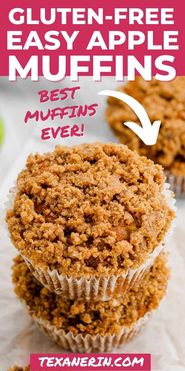 These gluten-free apple muffins are ultra moist, flavorful and have a delicious streusel topping! They're also dairy-free.