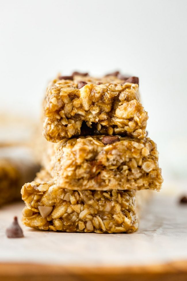 These gluten-free granola bars are easy to make, no-bake, vegan and can also be made nut-free.