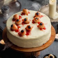 Halloween Cake with Eyeballs on cake plate