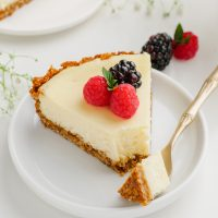 Eggless Cheesecake on plate