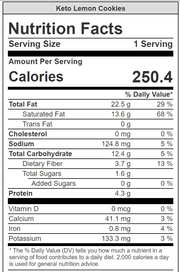 nutritional info for keto lemon cookies