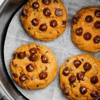 air fryer chocolate chip cookies in basket