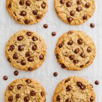 almond flour oatmeal cookies on tray