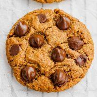 close-up of vegan peanut butter chocolate chip cookies
