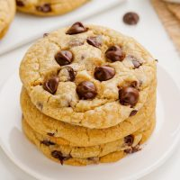 stack of eggless chocolate chip cookies
